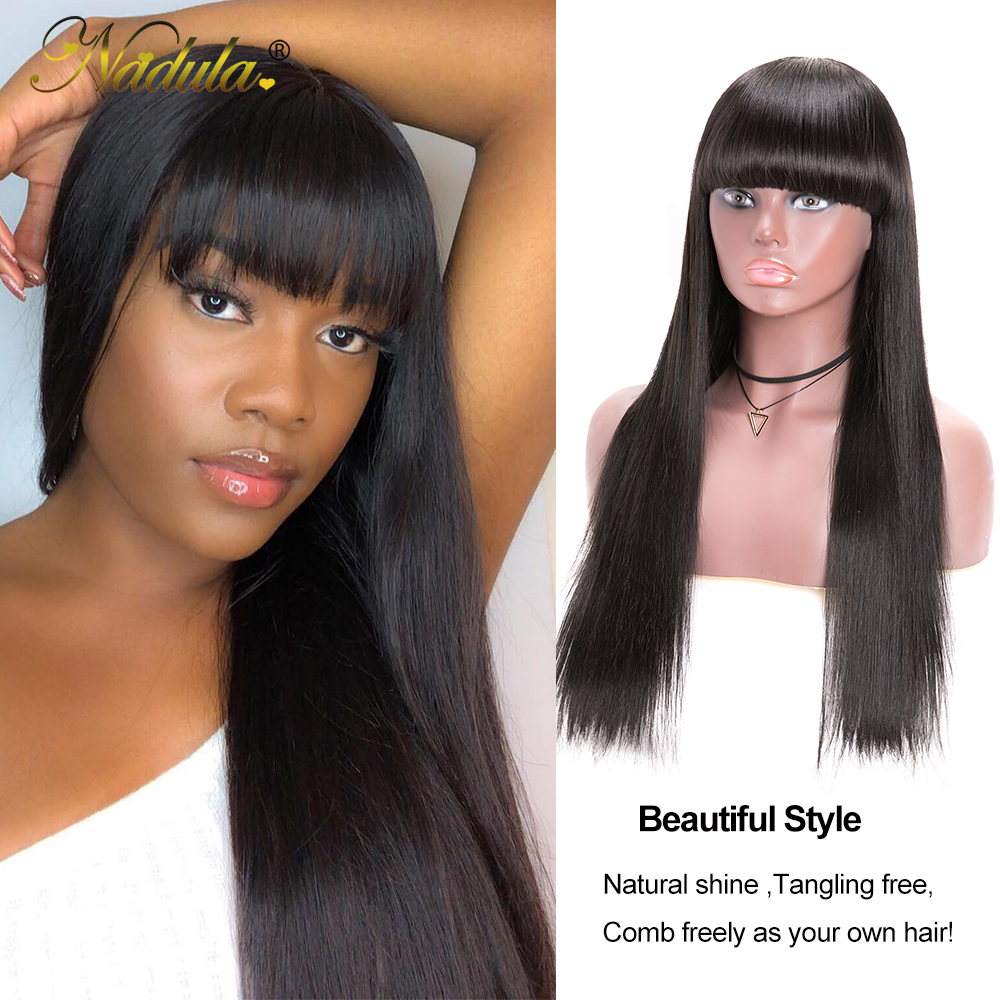 Nadula Hair Natural Machine Made Wig Straight Long Wig With Bangs  Wigs With Bangs  3