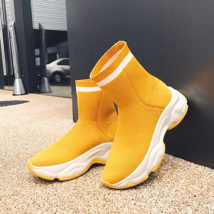 MLJUESE 2020 kadın yarım çizmeler örgü kare ayak sarı renk kayma kış kısa peluş kadın botları parti elbise