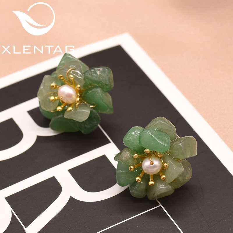 XlentAg Natural Jade Fresh Water Pearl Flower Stud Earrings For Women Girl Handmade Fine Jewellery Bijoux En Argent 925 GE0780F