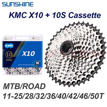 Sunshine Road kaseta MTB 10 S zestaw 11T-25 28 32 36 40 42 46 50T z KMC X10 łańcuch rowerowy 4601 10V koła zębate dla Shimano 10 prędkości tanie i dobre opinie STEEL 28-34 t CN (pochodzenie) Wolnobieg 10-biegowa 10v set for bike sunshine cassettes