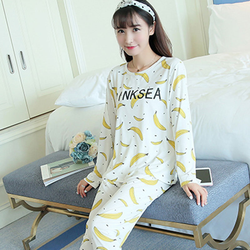 Jun Xin Pajamas Female Summer Spring And Autumn Sweet Printed Thin Pullover Crew Neck Pajamas Pink Banana Long Sleeve Tracksuit