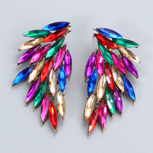 Wholesale New Colorful Rhinestone Big Hanging Drop Earrings Fine Jewelry Accessories For Women Fashion Trend Pendientes Bijoux