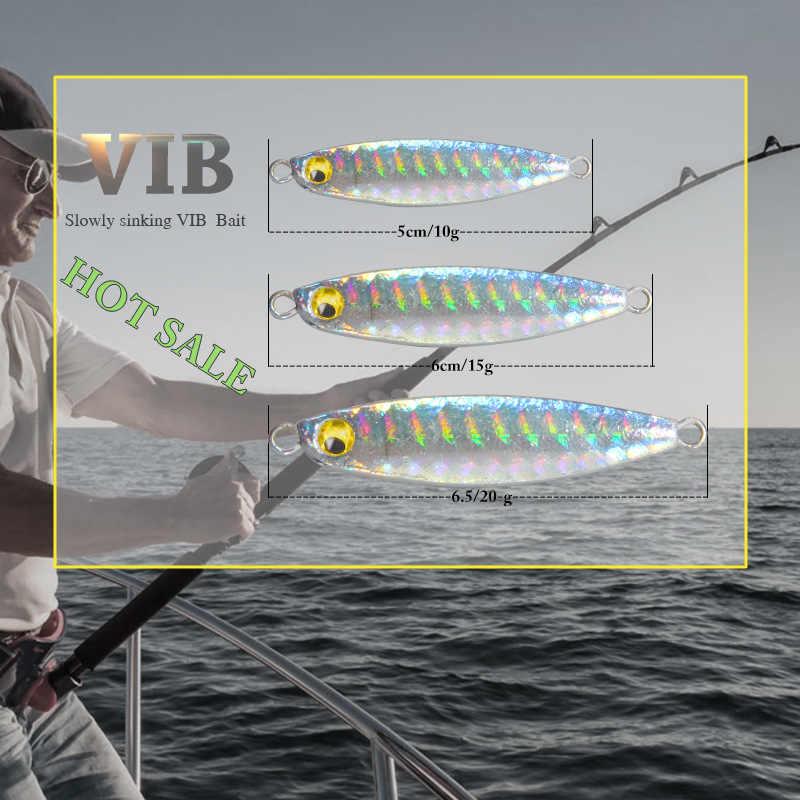 1 pièces 7g 10g 15g 20g dur Minnow appât pêche petit appât leurre longue plume plaque de fer sequin lent rocker crochet de sang