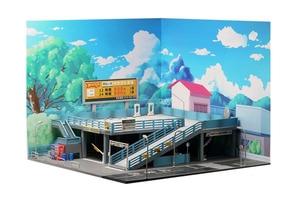 Image 3 - 1/64 minyatür model japon tarzı model araba oyuncak sahne sokak görünümü çift garaj otopark oyuncak hediye kutusu