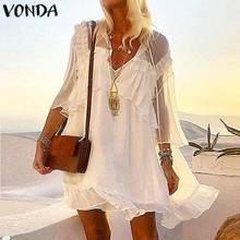 VONDA 2021 Summer Sundress Sexy Mini Dress Women Party See through Dress Vintage Long Sleeve Beach Lace Dresses Bohemian Vestido