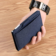 New ultra thin casual leather wallet men's multi-functional manual canvas credit card cover metal buckle driver's license Wallet