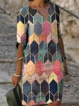 Casual plus size dress loose printed inner dress fashion new versatile dress