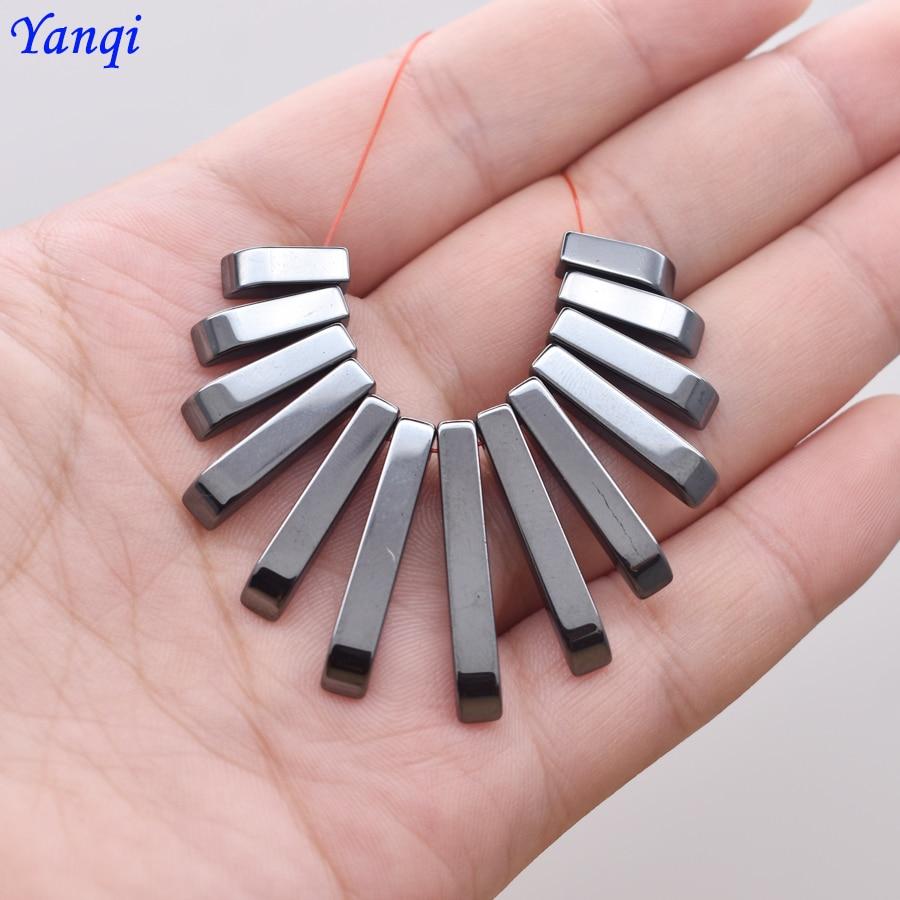 Yanqi высокое качество натуральный камень особой формы квадратные Черные гематит бусины для женщин мужчин ювелирные изделия ожерелье сделай ...
