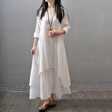 Vestido Longo Fall 2019 Long Sleeve Plus Size White Balck Maxi Linen Dress Winter Blancos Robe Vintage Femme Vetements 4xl 5xl цена 2017