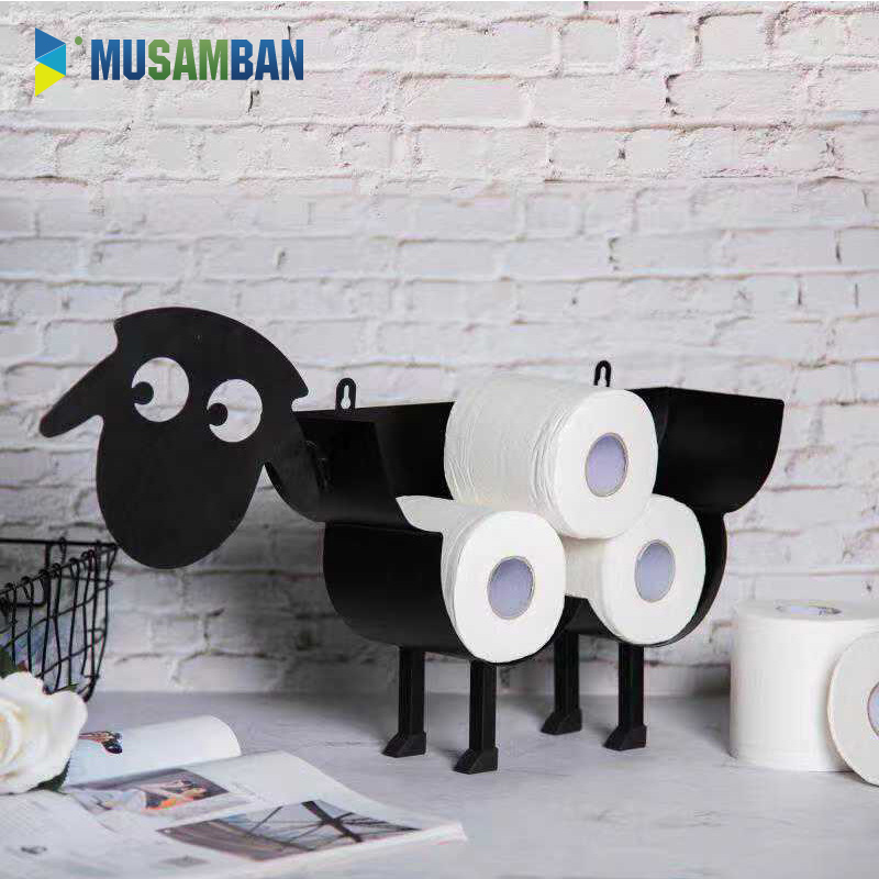 MUSAMBAN Toilet Paper Holders Wall Mount Sheep Tissue Rack Easy Clean Shape Punch Free Tissue Storage Racks Bathroom Accessories