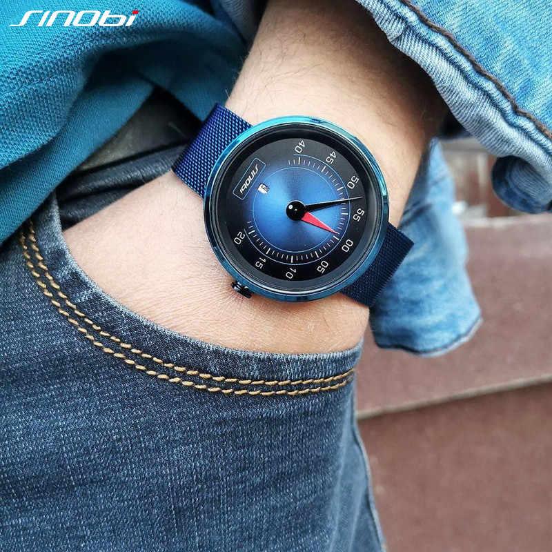 Sinobi ar painel do carro novo design criativo relógios masculinos topo luxo homem quartzo relógios de pulso masculino azul relógio relogio masculino