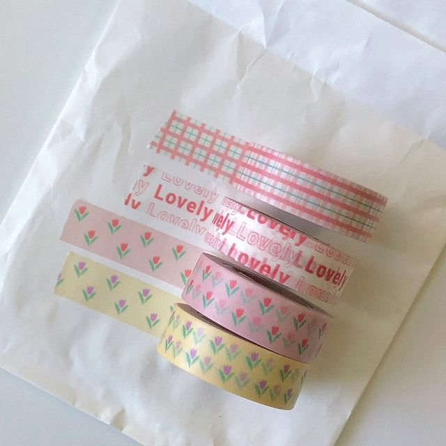 Ins Hot Tulip alphabet Love And Paper Adhesive Tape Love Flower kawaii Korea Washi Tape Hand Account Decorative Tape Stationery