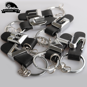 3D Metal For Mercedes Benz W211 W124 W210 W212 W176 W168 W169 W245 W246 AMG E C A B S M G Class Car Keychain leather Key Rings image