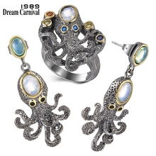 DreamCarnival1989 Super! New Arrived Funny  Rings + Earrings Cute Best Party Jewelry Simulated Opal Stones ER3875S2