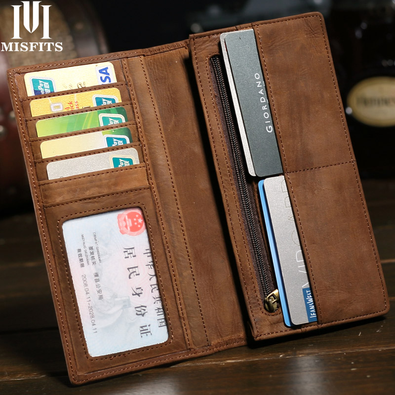MISFITS Brand Mens Long Crazy Horse Leather Wallets Men Genuine Leather Wallet Clutch Vintage Male Purse Leather Purse Wallets