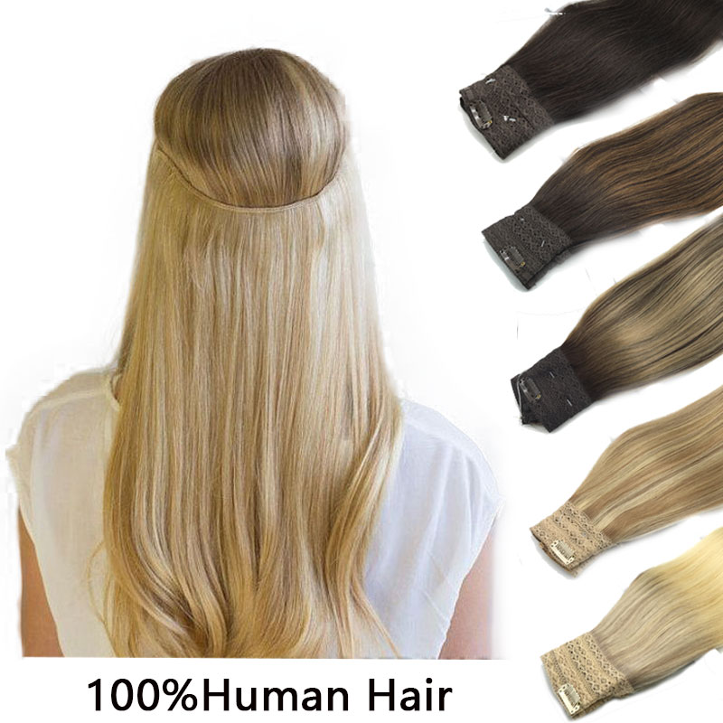 Düz saç ekleri görünmez gizli tel saç uzatma balık hattı İnsan saç uzatma Ombre sarışın altın Remy saç