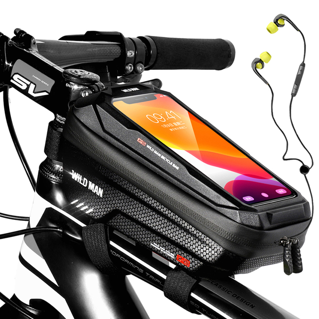 WILD MAN New Bike Bag Frame Front Top Tube borsa da ciclismo custodia per telefono impermeabile da 6,6 pollici borsa Touchscreen pacchetto MTB accessori per biciclette