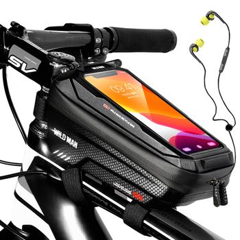 WILD MAN nowy rower rama do torby przednia górna rura torba rowerowa wodoodporna 6 6in etui na telefon torba z ekranem dotykowym MTB Pack akcesoria rowerowe tanie i dobre opinie CN (pochodzenie) Z poliestru Z pokrywką Bycicle Bag Black Red About 165g 210*105*100 mm EVA+PU leather Hard Shell Waterproof Rainproof