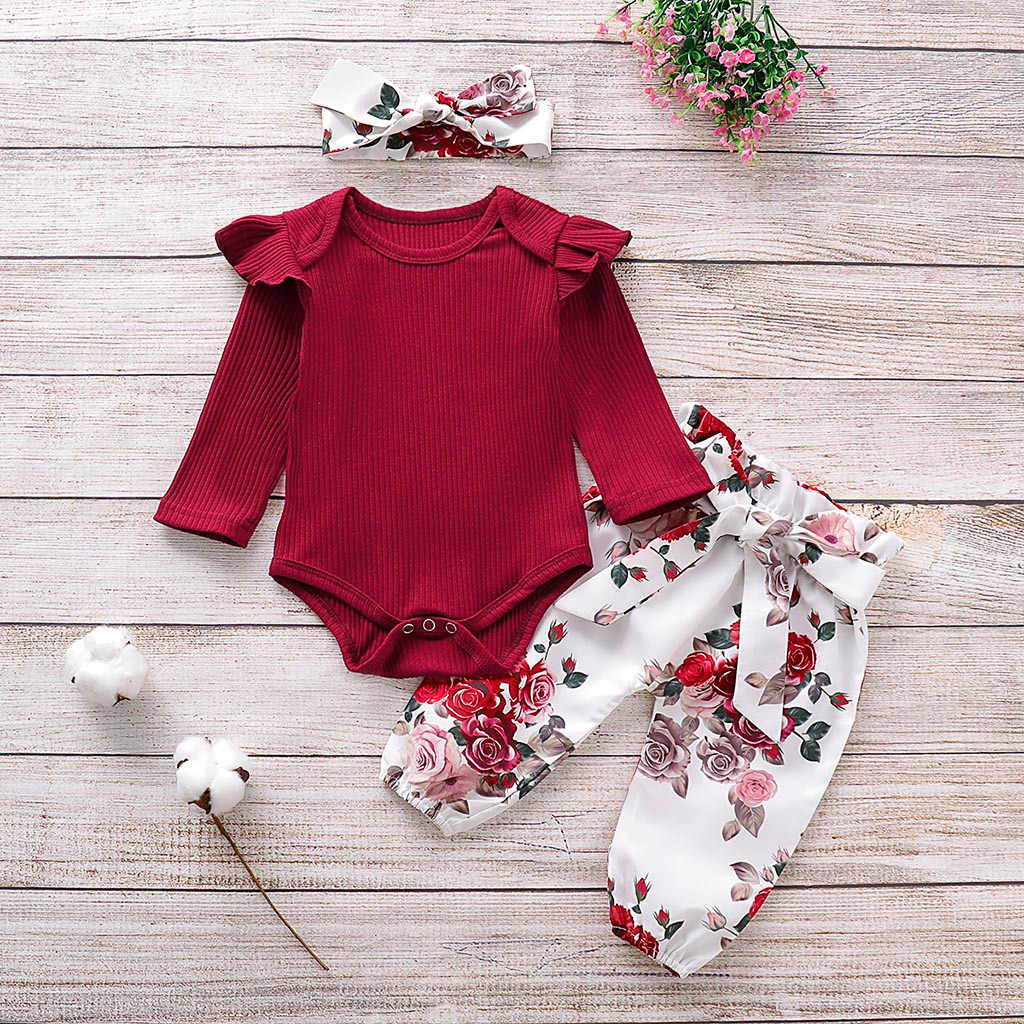 Autumn Baby Girl Clothes Sets 3pcs Newborn Ruffles Solid Romper Bodysuit+Floral Pants+Headband Outfits kit roupa bebe Cute Set