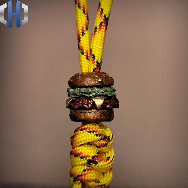 Original American Hamburger Multilayer Knife Paracord Beads EDC Personalized Handmade DIY Umbrella Rope Outdoor Pendant