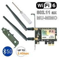 Bluetooth 5.0   2.4Gbps Pcie Cartão Wi-fi Placa de Rede Gigabit Dual Band Wifi 6 Ubit AX200 Adaptador Sem Fio Para janelas Desktop Pc