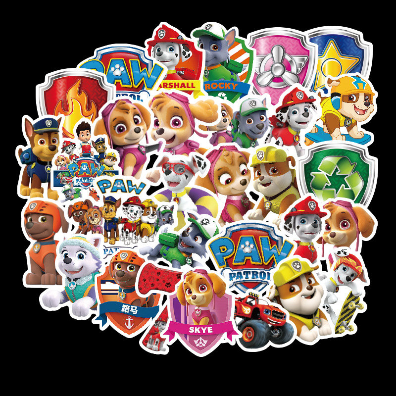 50pcs Non-repeating Dog PAW Patrol Stickers PVC Graffiti Stickers Travel Case Luggage Car Stickers Waterproof