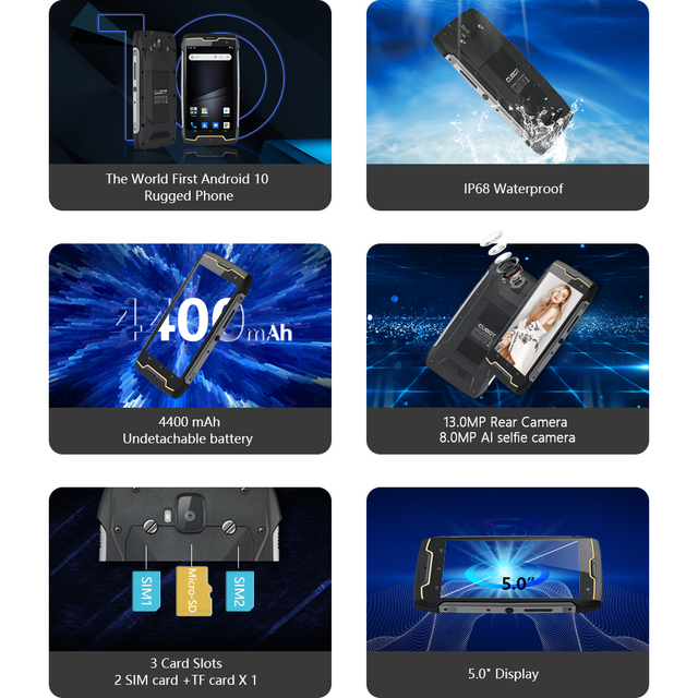 Cubot KingKong CS Android 10 IP68 Waterproof Smartphone 5 Inch 4400mAh Face ID Dual SIM Card Telephone Rugged Phone King Kong CS 2