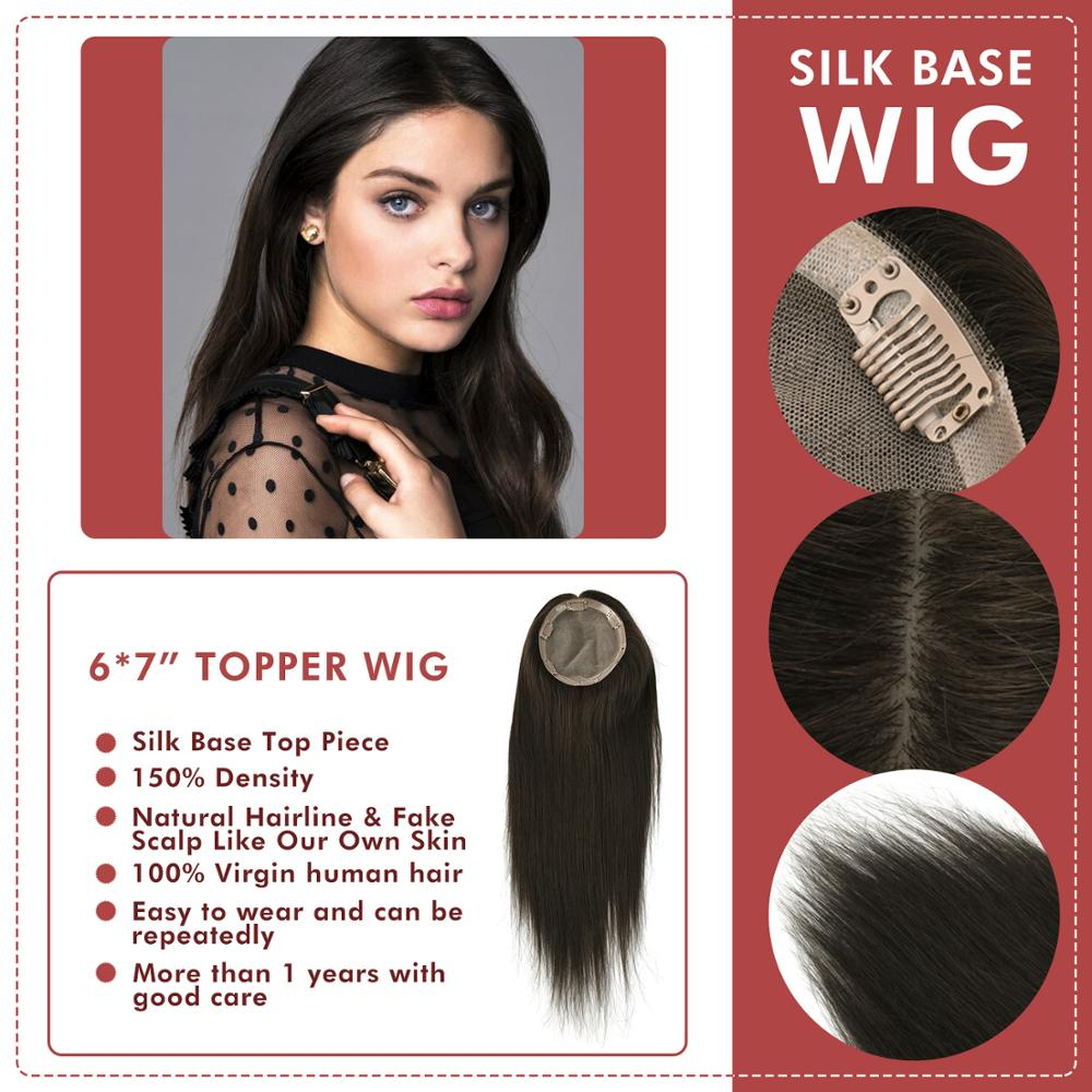 """Neitsi 6*7"""" Silk Base Fake Scalp Virgin Cuticle Remy Hair Topper Wig With 6 Clips In Natural Human Hair Pieces Toupee For Woman"""
