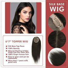 Neitsi 6*7 base base de seda falso couro cabeludo virgem cutícula remy peruca de topper do cabelo com 6 clipes em cabelo humano natural peças peruca para mulher
