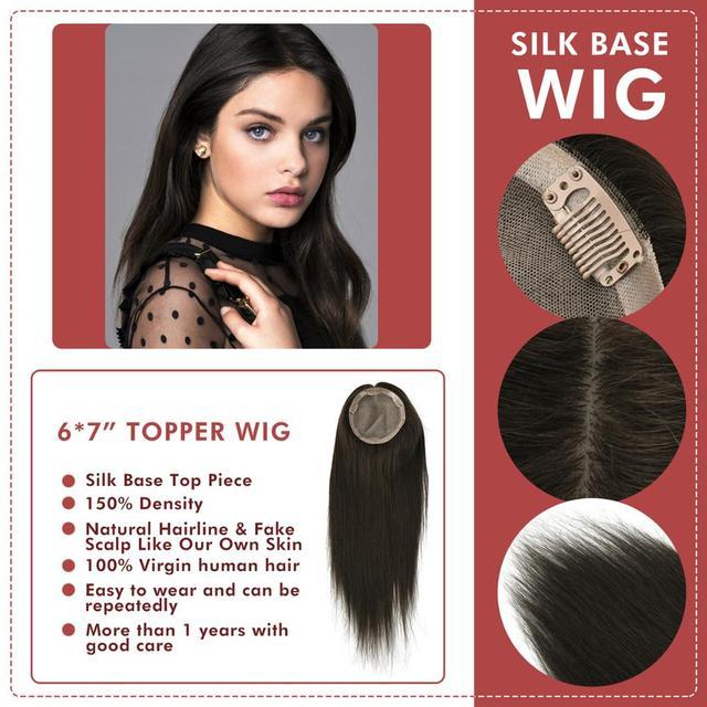 Neitsi peluca con Base de seda para mujer, 6x7 pulgadas, cuero cabelludo falso, cutícula virgen, Remy, con 6 Clips de pelo humano Natural, tupé