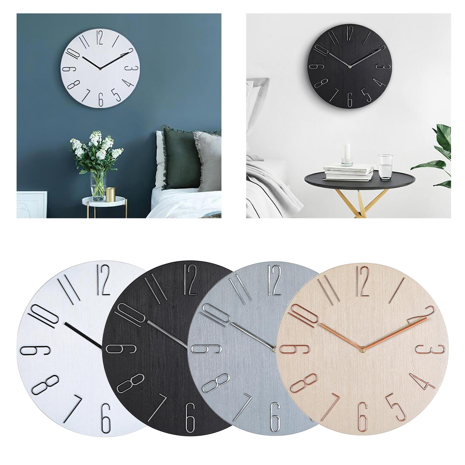 Plastic 35cm Wall Clock Mute Hanging Watch 14'' Study Room Artwork Crafts