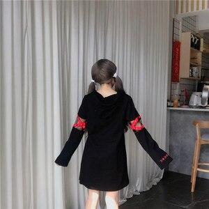 Image 5 - קוריאני נשים לוליטה ארוך נים נשים Sweetshirts יפני Harajuku אופנה Kawaii גותי גרפי לבן סווטשירט עם לב