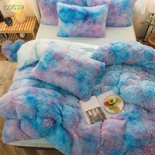 New Luxury Shaggy Super Soft Coral Fleece Warm Cozy Princess Bedding Set Fluffy Plush Duvet Cover Flat/Fitted Sheet Pillowcases