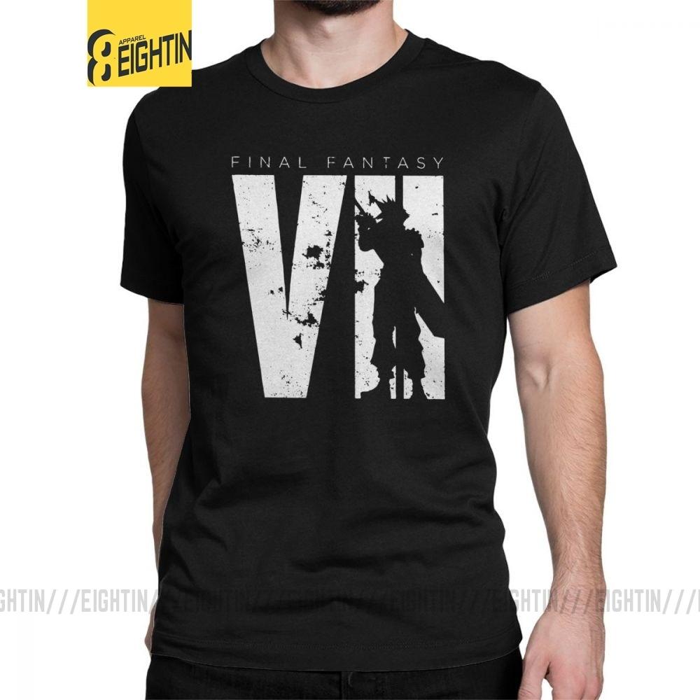 Men Final Fantasy Squall T Shirt Cloud FF7 Video Game Strife Shinra Chocobo 100% Cotton Short Sleeve Tee Shirt Summer T-Shirts