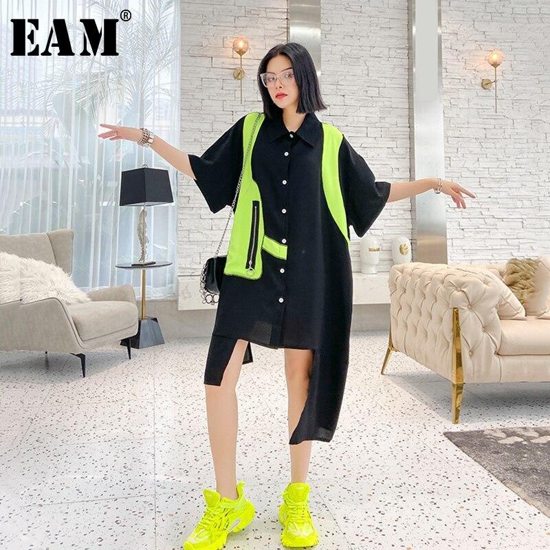 [EAM] Women Black Split Joint Big Size Irregular Shirt Dress New Lapel Half Sleeve Loose Fit Fashion Spring Summer 2020 1U207