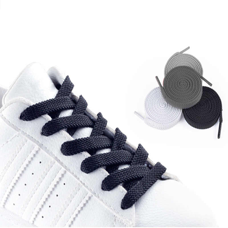 Zapatillas de uso diario cordones de zapatos de mujer cordones planos de colores para zapatos de hombre Zapatos de nailon sólido blanco negro gris rojo rosa azul cordones de zapatos