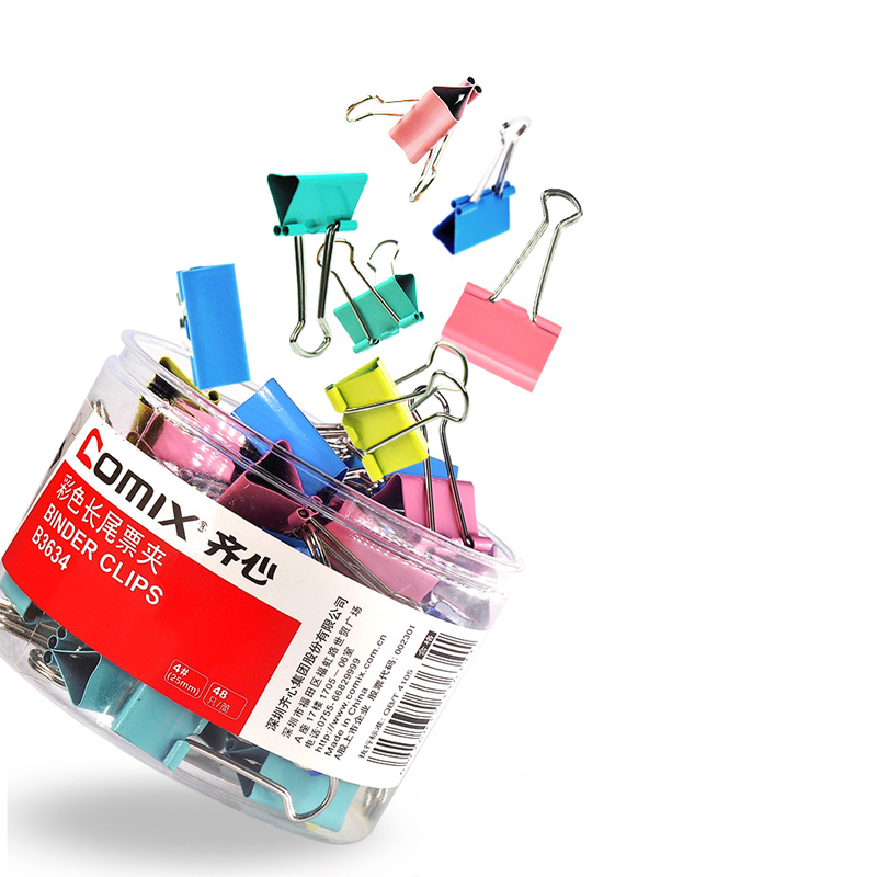 48 Pieces / Box Clip 25mm Candy Color Metal Clip School Office Supplies Stationery Binding Supplies Color Binder