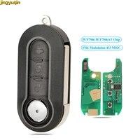 Fernbedienung Flip Auto Schlüssel Fob FSK PCF7946/PCF7946AT Chip 433MHZ Für Fiat 500 Grande Punto 2010-2017 ducato Stilo Bravo 3 Tasten SIP22