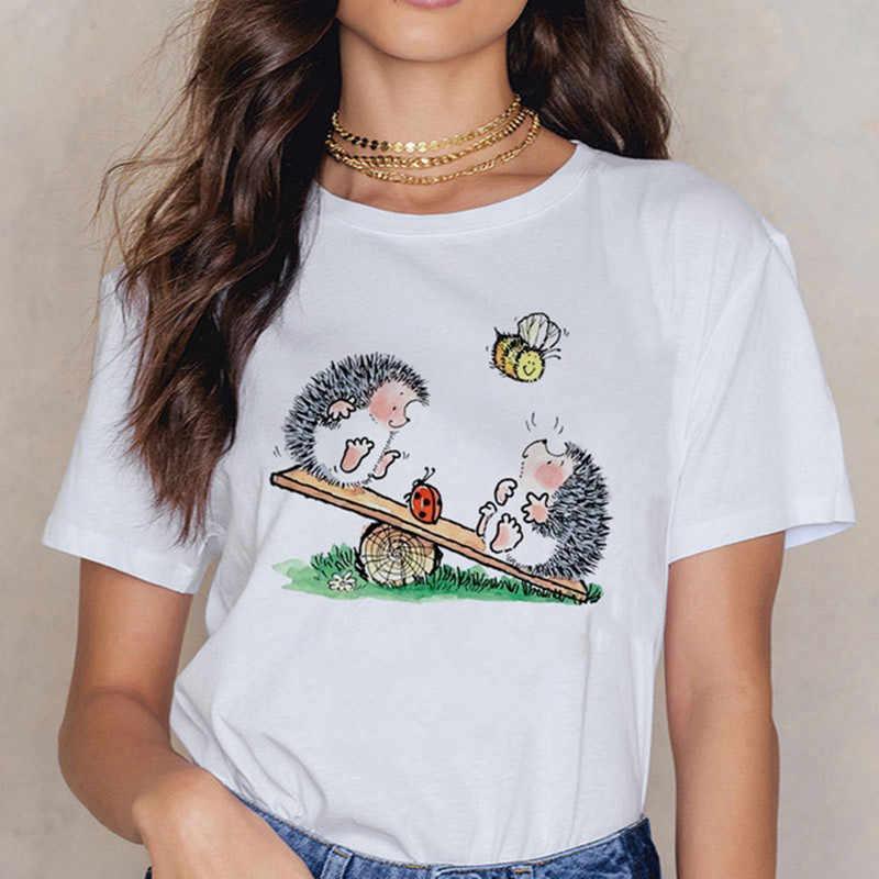 2020 여성 고슴도치 민들레 티셔츠 o 넥 봄 여름 여성 셔츠 편안한 로파 무제 티셔츠