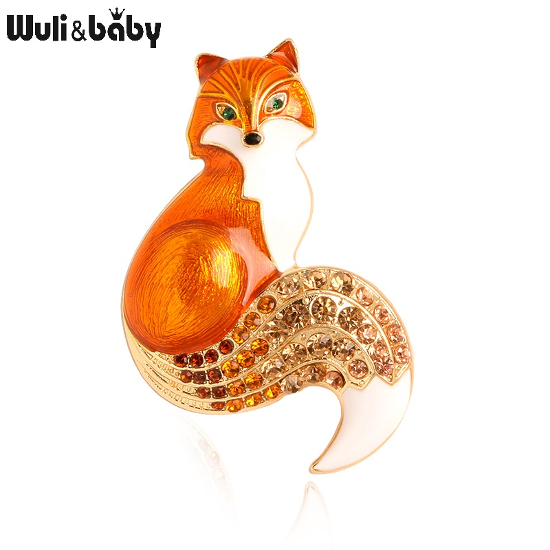 Wuli&baby Rhinestone Enamel Fox Brooches For Women Animal Party Causal Brooch Pins Gifts