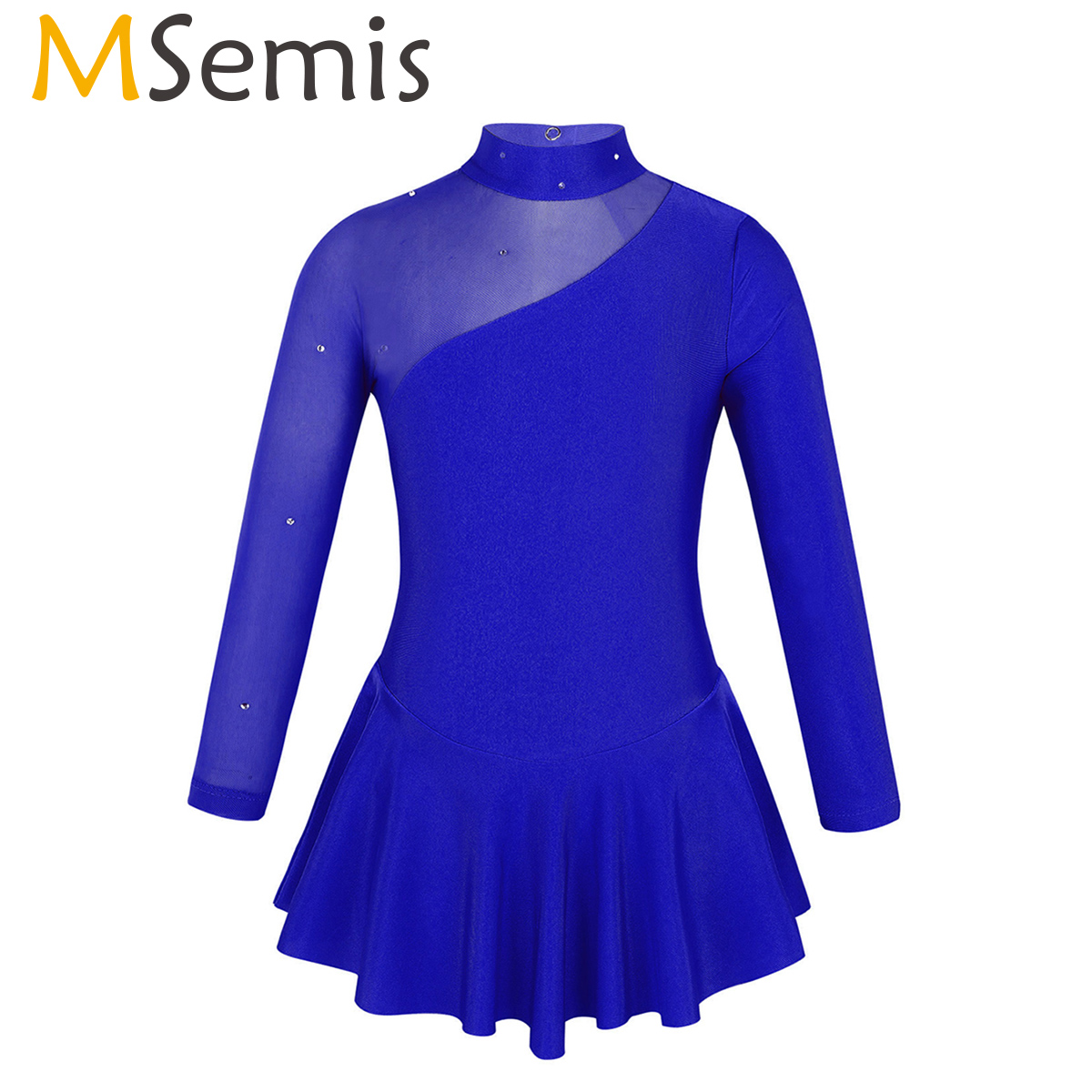 MSemis Girls Figure Ice Skating Competition Dress Long Sleeves Tulle Splice Cutouts Kid Professional Rhythmic Gymnastics Leotard