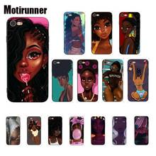 Motirunner Queen Afro Melanin Poppin Girl Silicone Phone Case Cover For IPhone 8 7 6 6S 6Plus X XS MAX 5 5S SE XR 10 11 Pro Max motirunner and white moon creative silicone phone case cover for iphone 8 7 6 6s 6plus x xs max 5 5s se xr 10 11 pro max