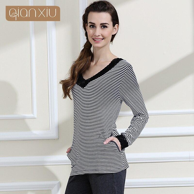 Qianxiu Pajamas women Classic Stripes Sleepwear Knitted V-neck Pajamas Set 1456