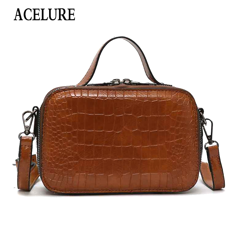 ACELURE Solid Color PU Leather Shoulder Bags For Women Fashion Stone Pattern Mini Handbags Retro Casual Small Flap Crossbody Bag