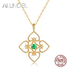 ALLNOEL 925 Sterling Silver Necklace for Women 100% Natural Tsavorite Pink Crystal Real Gold Fashion Engagement Fine Jewelry
