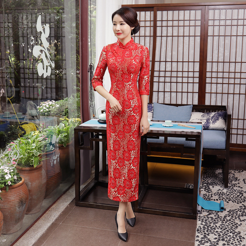 T0054 Autumn And Winter New Style Lace Long Cheongsam Half-sleeve Shirt Performance Wear Performance Middle-aged Women Dress Sli