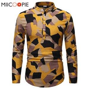 Мужская льняная рубашка с воротником-стойкой, желтая камуфляжная рубашка на пуговицах, Повседневная приталенная рубашка в стиле Харадзюку ...
