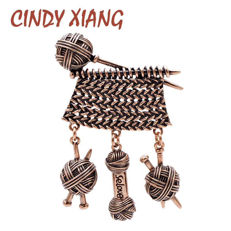 CINDY XIANG Creative Design Weaving Ball Of Yarn Brooch Vintage Jewelry Autumn Winter Sweater Design Jewelry Brooches For Women