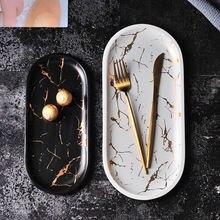 Мраморная прямоугольная керамическая тарелка в скандинавском