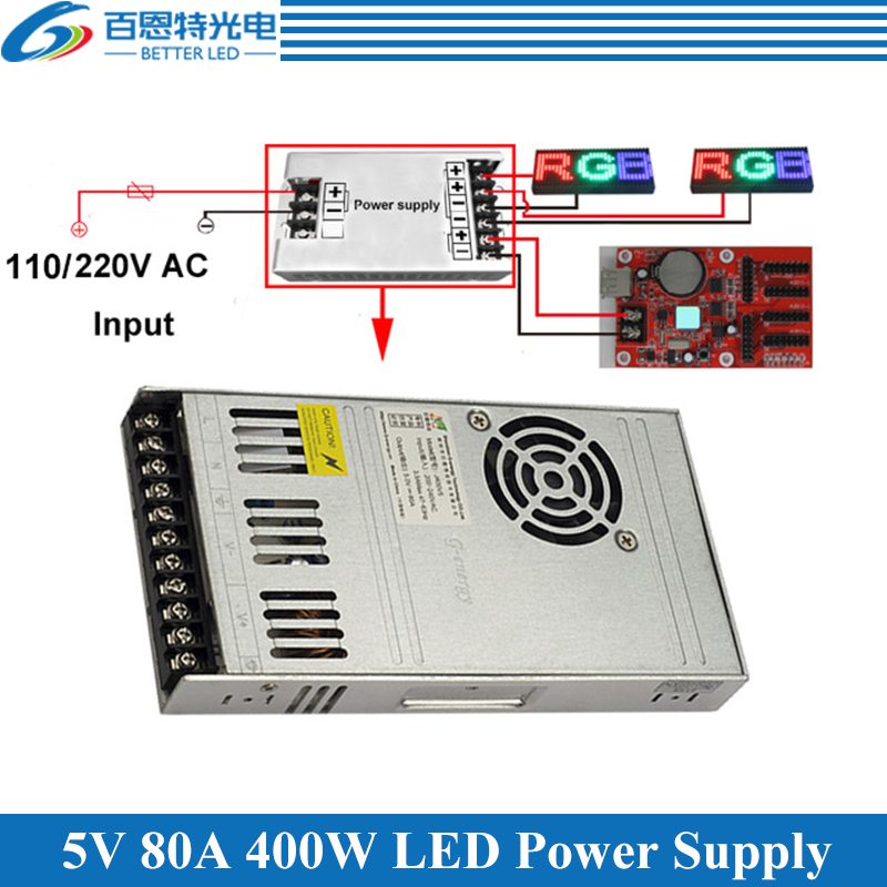 Special LED Display Power Supply With Fan Ultra-thin 110/220VAC Input, 5V 80A 400W Output